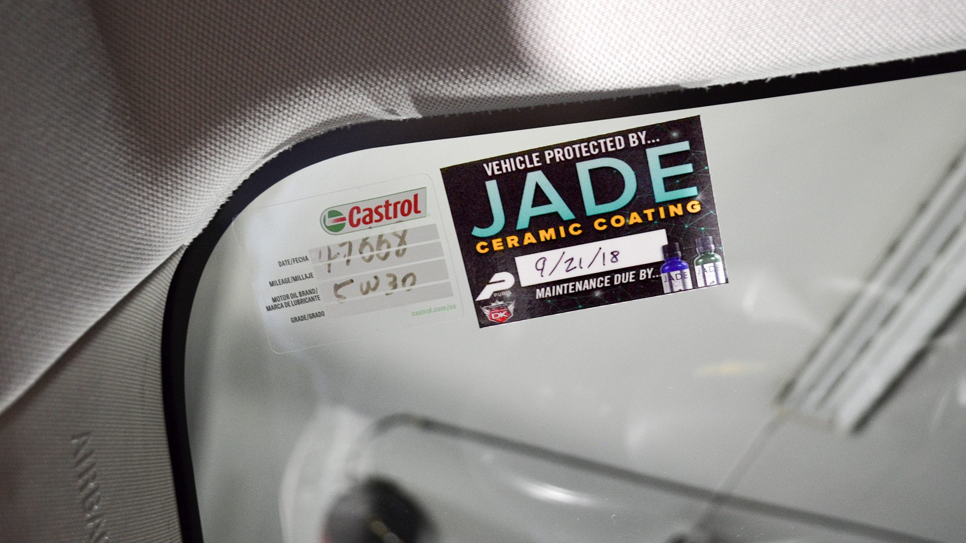 Jade Ceramic Coating Window Cling Stickers